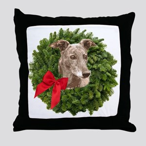 Greyhound in Christmas Wreath Throw Pillow