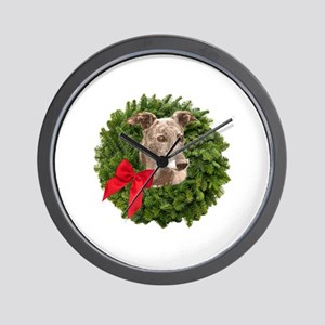 Greyhound in Christmas Wreath Wall Clock