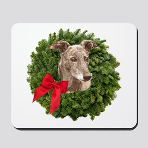 Greyhound in Christmas Wreath Mousepad