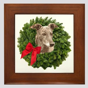 Greyhound in Christmas Wreath Framed Tile