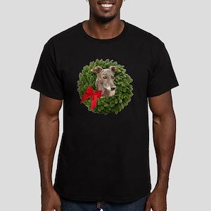 Greyhound in Christmas Men's Fitted T-Shirt (dark)