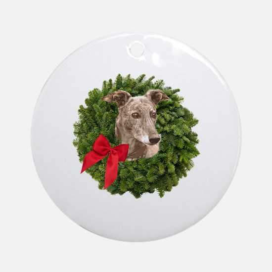 Greyhound in Christmas Wreath Round Ornament