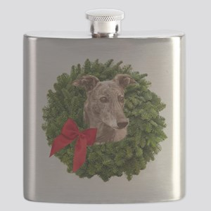 Greyhound in Christmas Wreath Flask