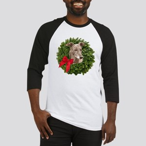 Greyhound in Christmas Wreath Baseball Jersey