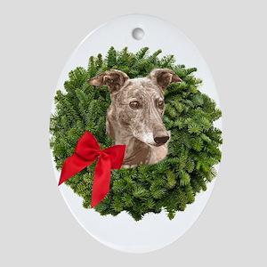 Greyhound in Christmas Wreath Oval Ornament