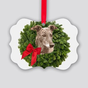 Greyhound in Christmas Wreath Picture Ornament