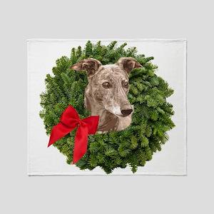 Greyhound in Christmas Wreath Throw Blanket