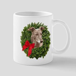 Greyhound in Christmas Wreath Mugs