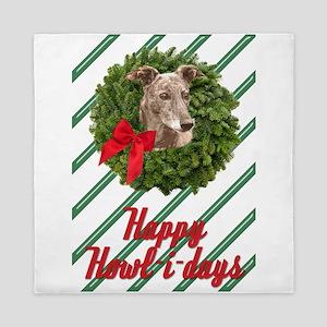 Greyhound Christmas wreath Happy Howl- Queen Duvet