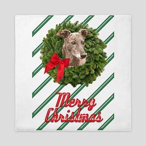 Greyhound in Wreath Merry Christmas Queen Duvet