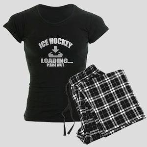 Ice Hockey Loading Please Wa Women's Dark Pajamas