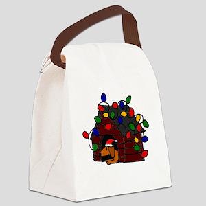 Funny Dachshund Christmas Dog Hou Canvas Lunch Bag