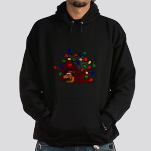 Funny Dachshund Christmas Dog House Hoodie (dark)