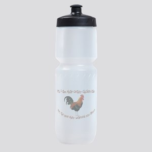Crazy Chicken Lady Sports Bottle