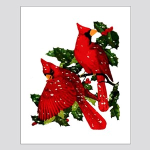 Snow Cardinals Small Poster