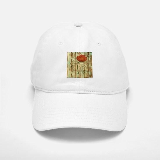 rustic paris poppy flower Baseball Baseball Cap