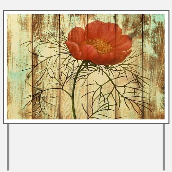 rustic paris poppy flower Yard Sign