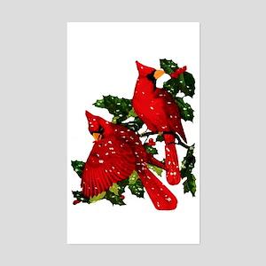Snow Cardinals Rectangle Sticker