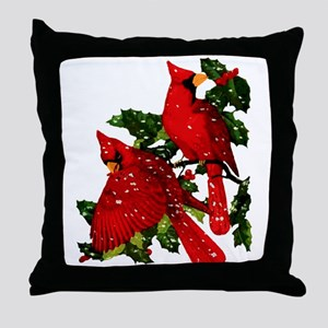 Snow Cardinals Throw Pillow