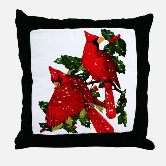 Snow Cardinals Throw Pillow