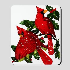 Snow Cardinals Mousepad