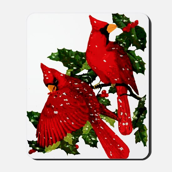 Snow Cardinals Mousepad