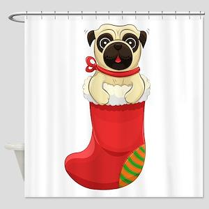 Christmas Pug Shower Curtain