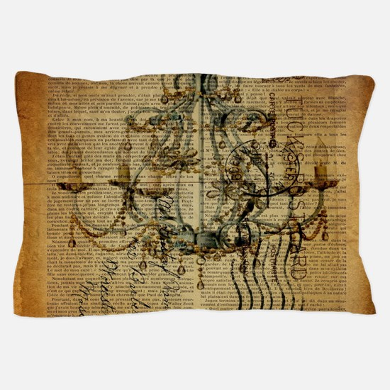 french scripts vintage chandelier Pillow Case