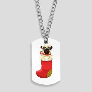 Christmas Pug Dog Tags