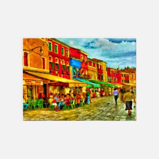 Italy Street Scene 5'x7'Area Rug