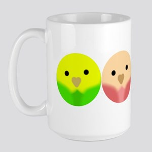 Roly Poly Parakeets in a Line Large Mug