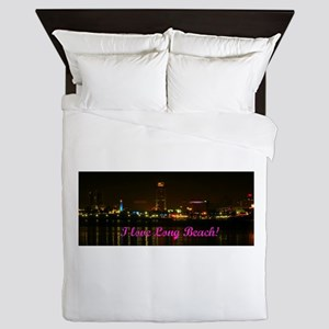 I Love Long Beach Skyline Night Queen Duvet