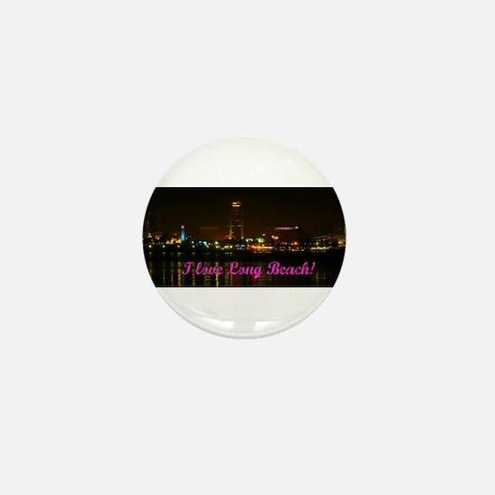 I Love Long Beach Skyline Night Mini Button