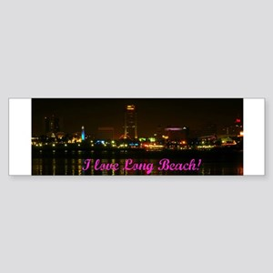 I Love Long Beach Skyline Night Bumper Sticker