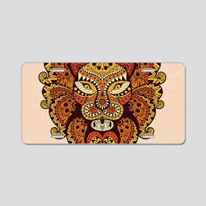 Abstract Lion Head Aluminum License Plate