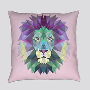 Triangle Colorful Lion Head Everyday Pillow