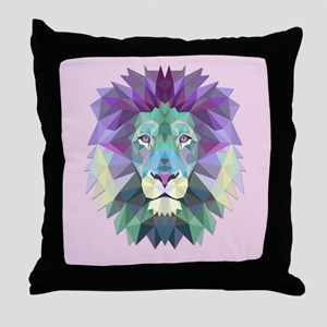 Triangle Colorful Lion Head Throw Pillow