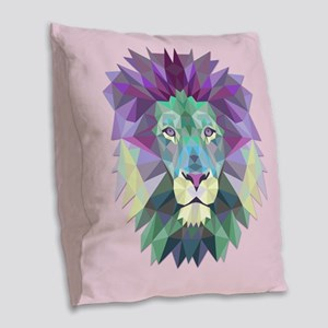 Triangle Colorful Lion Head Burlap Throw Pillow