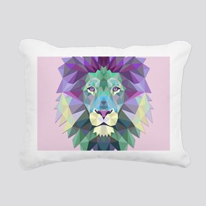 Triangle Colorful Lion Head Rectangular Canvas Pil