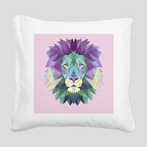 Triangle Colorful Lion Head Square Canvas Pillow