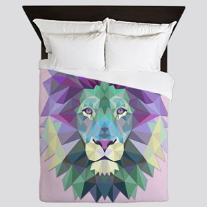 Triangle Colorful Lion Head Queen Duvet