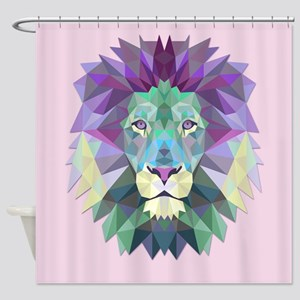 Triangle Colorful Lion Head Shower Curtain