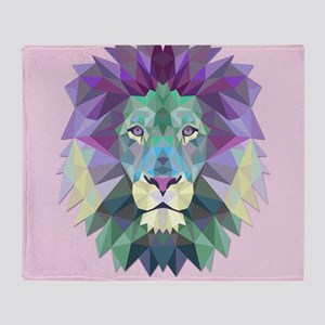 Triangle Colorful Lion Head Throw Blanket