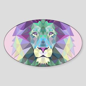 Triangle Colorful Lion Head Sticker