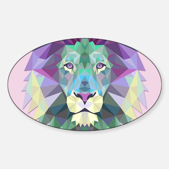 Triangle Colorful Lion Head Decal