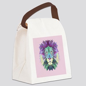 Triangle Colorful Lion Head Canvas Lunch Bag