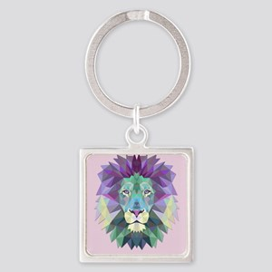 Triangle Colorful Lion Head Keychains