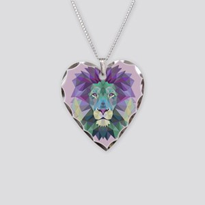 Triangle Colorful Lion Head Necklace Heart Charm