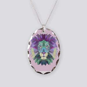 Triangle Colorful Lion Head Necklace Oval Charm