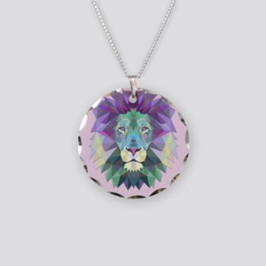 Triangle Colorful Lion Head Necklace Circle Charm